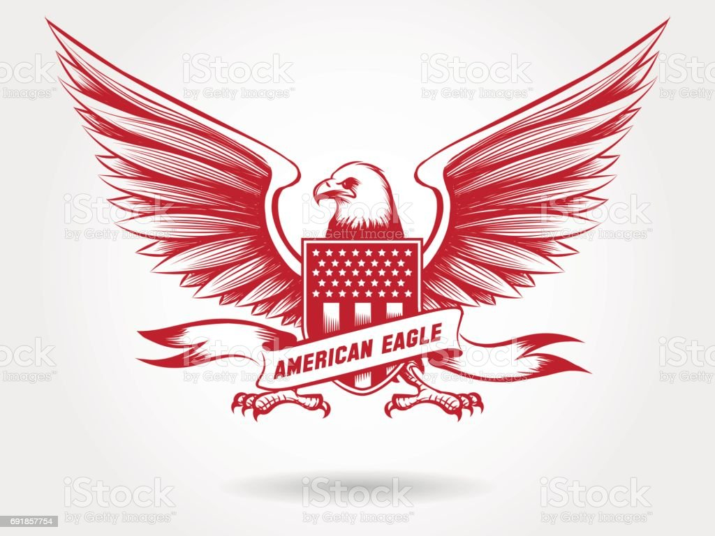 Sketched american eagle emblem design vector art illustration