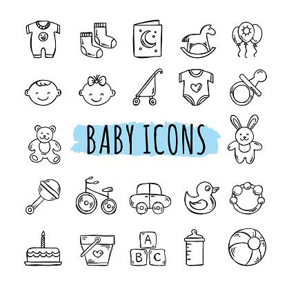 Sketched baby icons vector set. Hand drawn kids symbols