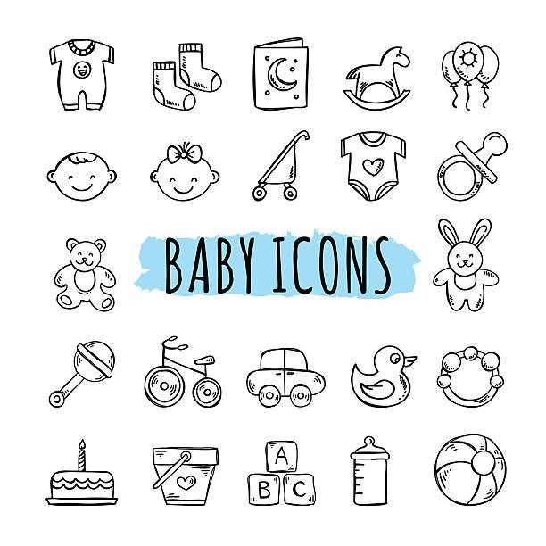 stockillustraties, clipart, cartoons en iconen met sketched baby icons vector set. hand drawn kids symbols - baby