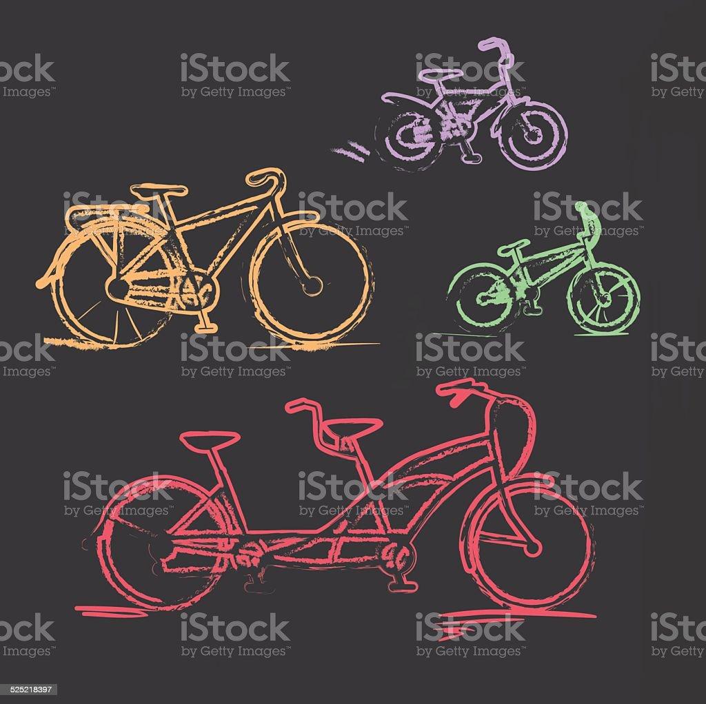 Sketched chalky bicycle set on blackboard vector art illustration