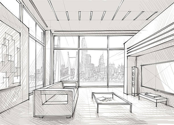 Sketched Design Of A Spacious Lounge Overlooking The City Vector Art Illustration
