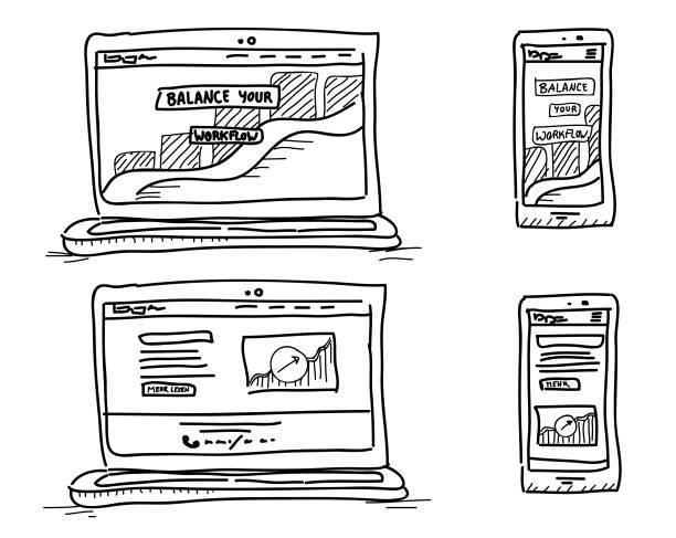 Skizzierte digitale Mediengeräte – Vektorgrafik