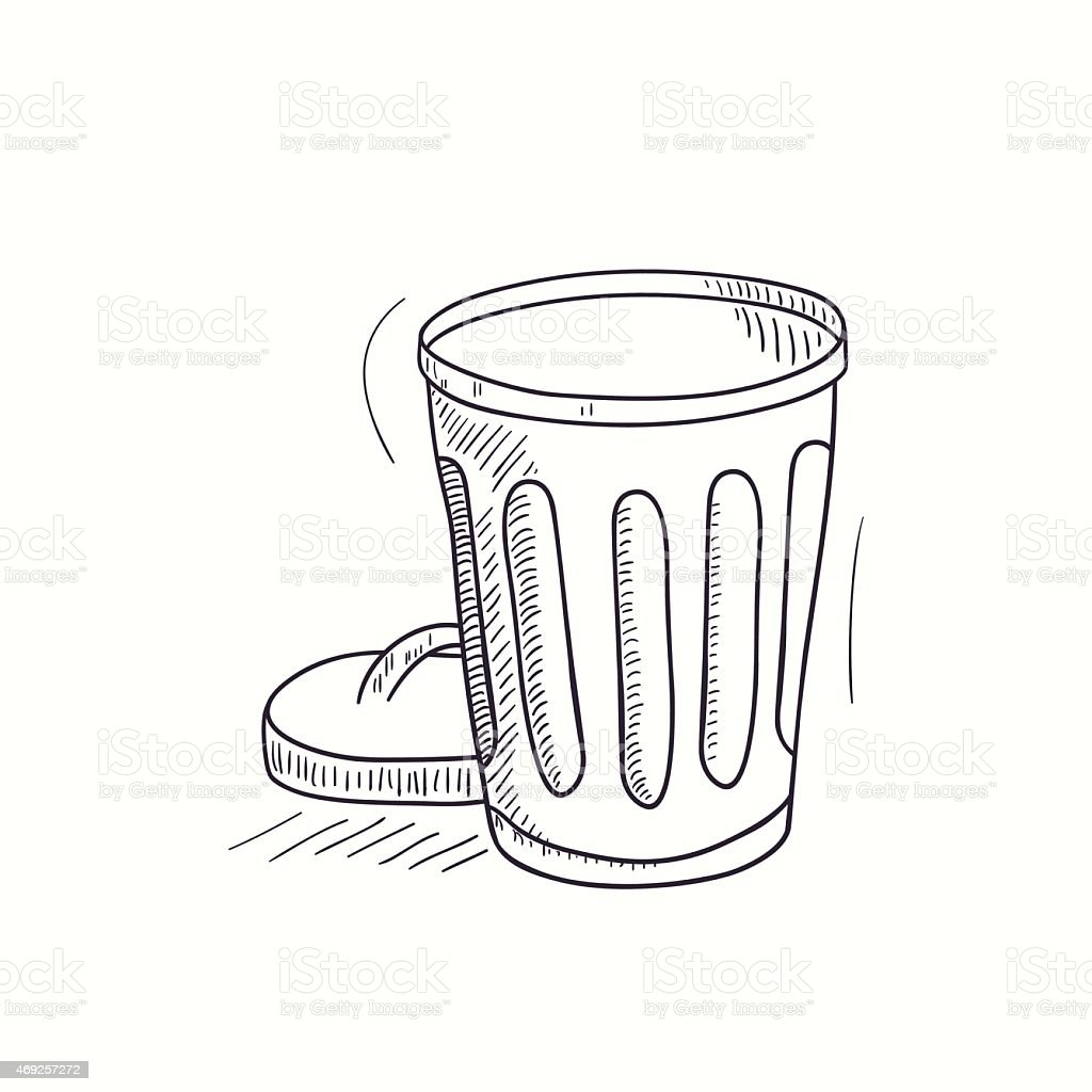 Sketched empty trash bin desktop icon stock vector art more images of 2015 469257272 istock - Dessin de poubelle ...