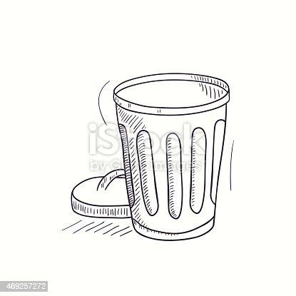 Sketched Esvaziar O Caixote Do Lixo Ícone Do Ambiente De