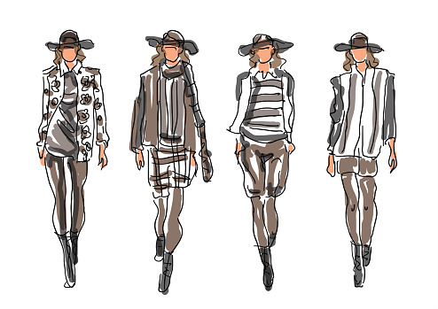 Sketched Fashion Women Models