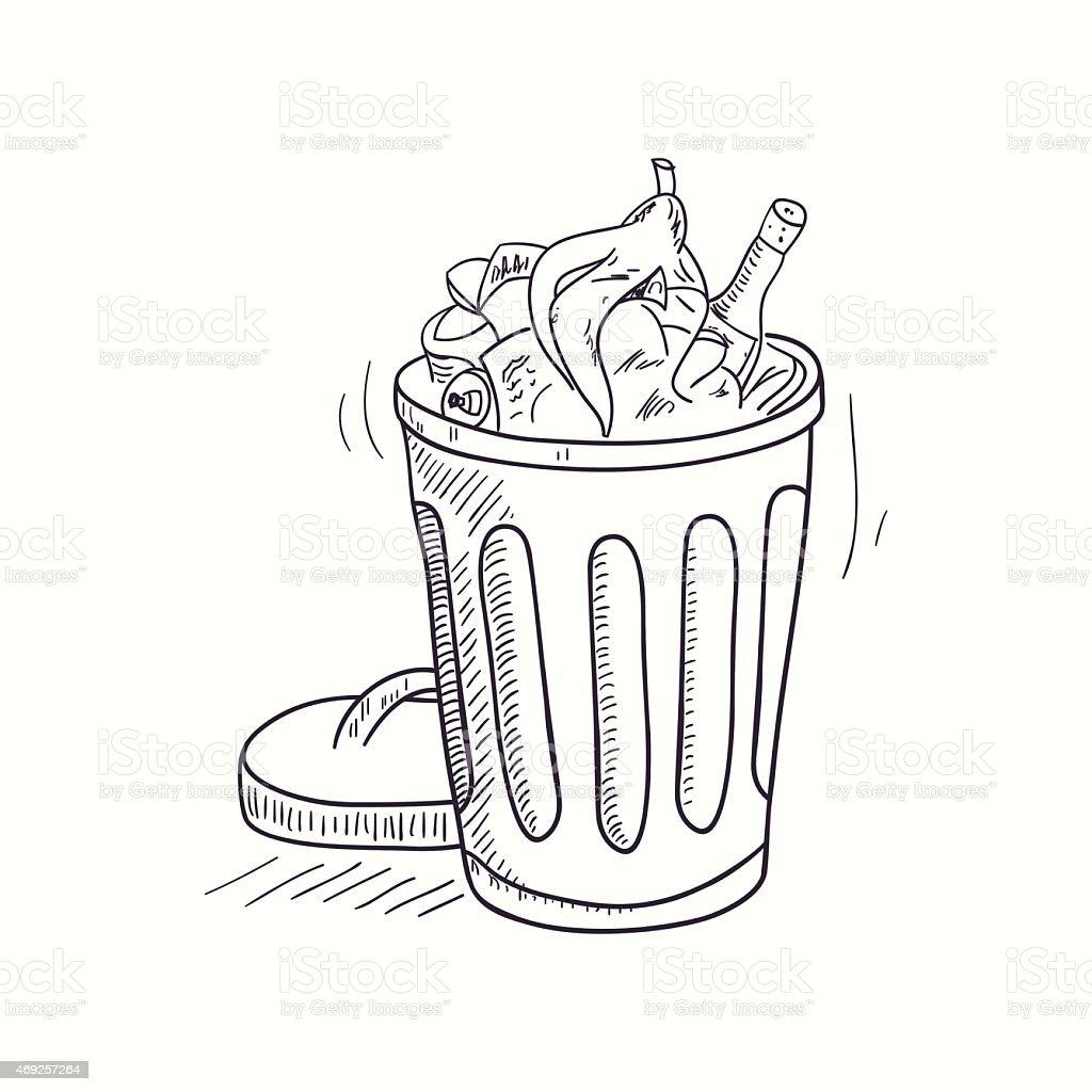 Skizzierte voller m ll bin desktopsymbol stock vektor art und mehr bilder von 2015 istock - Dessin de poubelle ...
