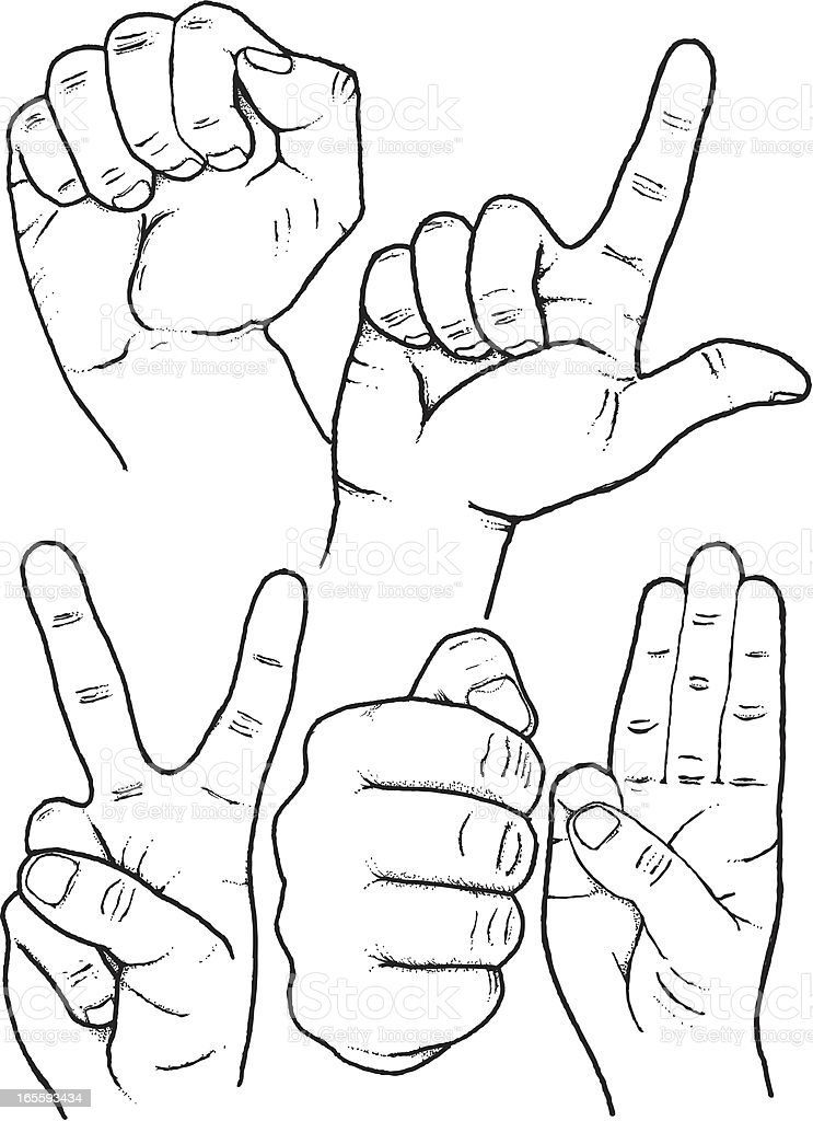 Sketched hand gestures royalty-free stock vector art