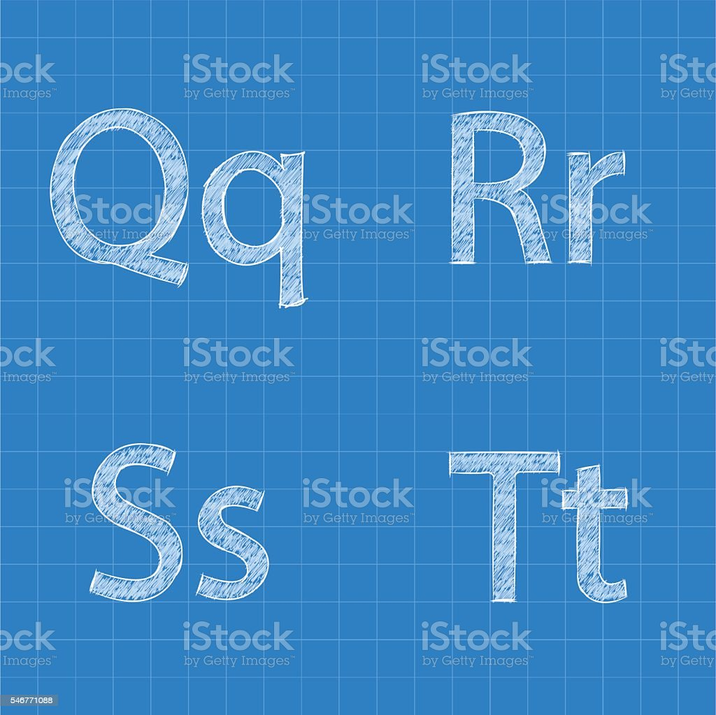 Sketched letters Q R S T on blueprint background vector art illustration