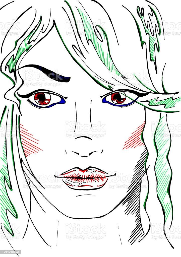スケッチ線アート ネオン ファッション女の子縦ベクトル - まつげのロイヤリティフリーベクトルアート