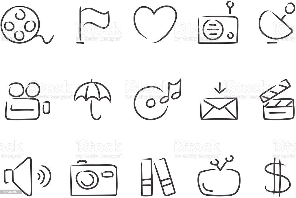 Sketched Media Icons royalty-free stock vector art