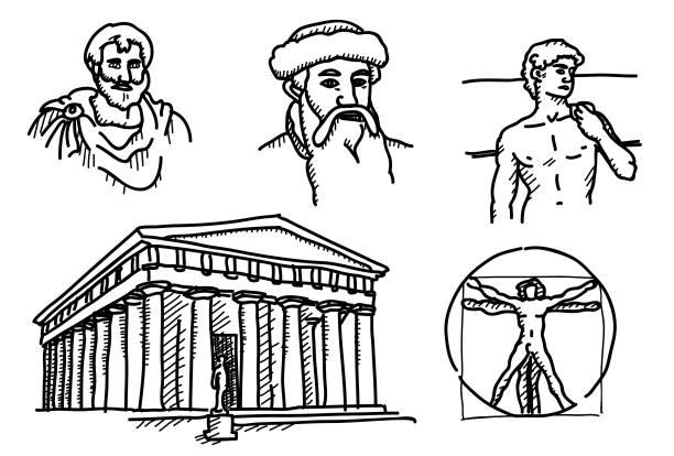 Skizzierte Mischung historischer Meilensteine – Vektorgrafik