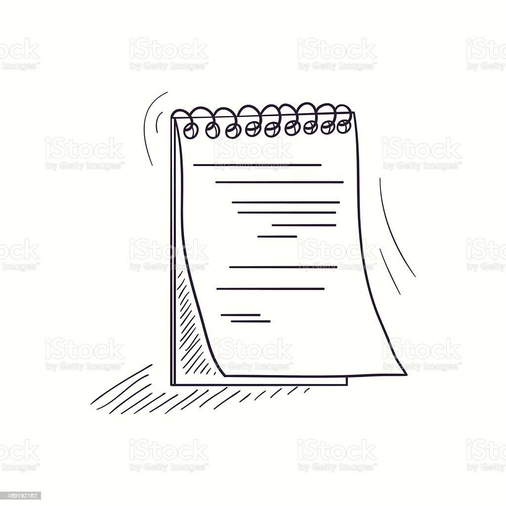 Sketched notebook desktop icon vector art illustration