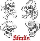 Sketched pirate, cowboy and sheriff