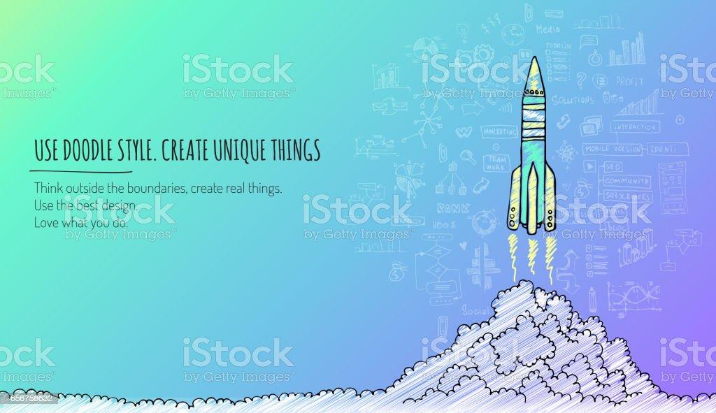 Concepto De Lanzamiento De Cohete Bosquejado Ilustración Vectorial ...