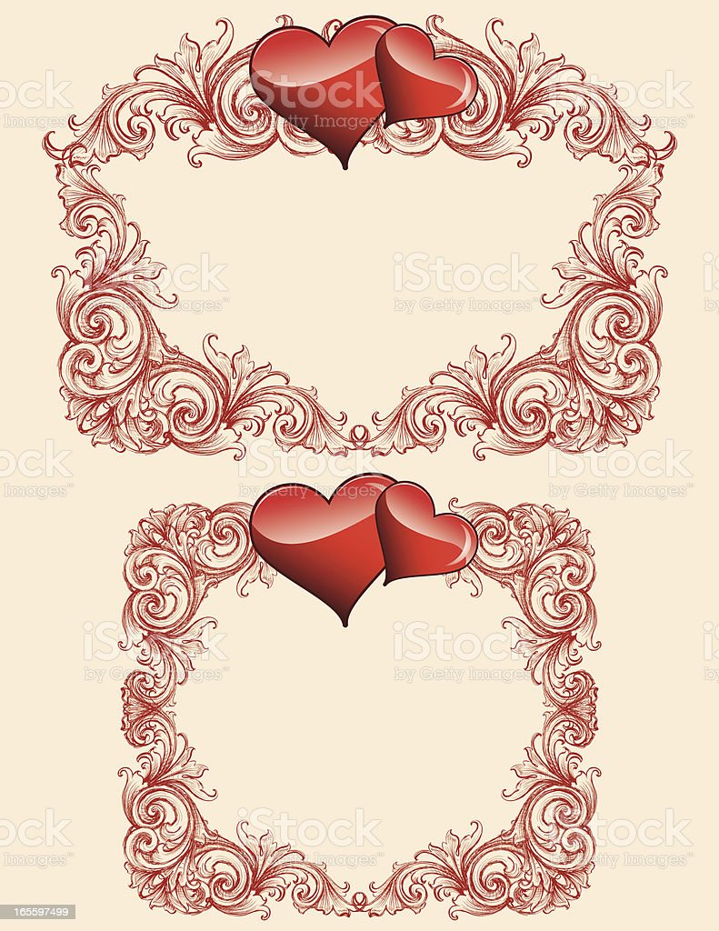 Sketched Scroll and Hearts royalty-free sketched scroll and hearts stock vector art & more images of antique