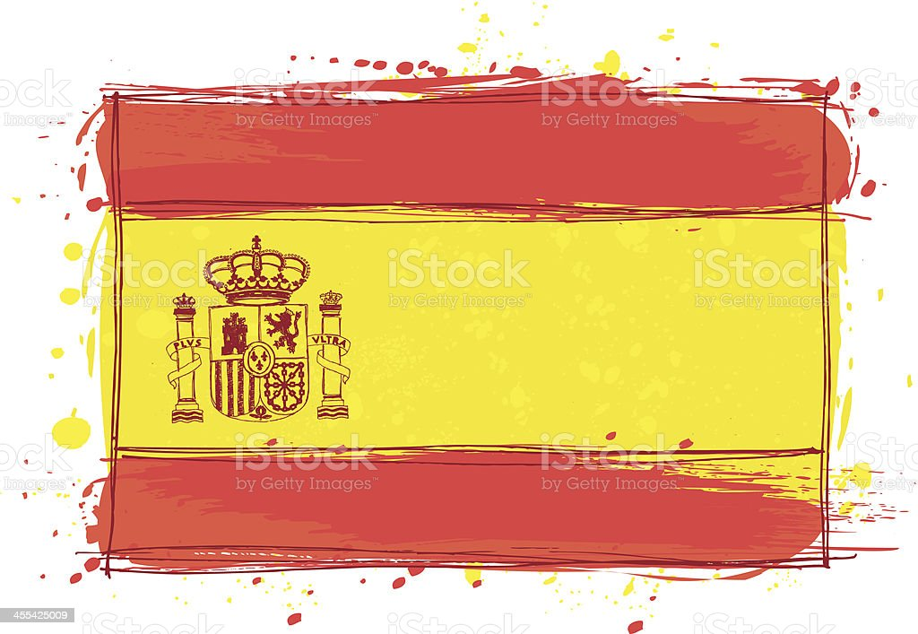 Sketched Spain Flag vector art illustration