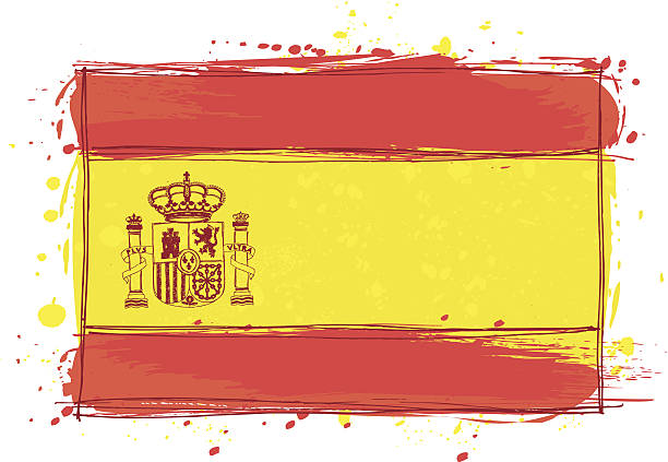 sketched spain flag - spanish flag stock illustrations, clip art, cartoons, & icons
