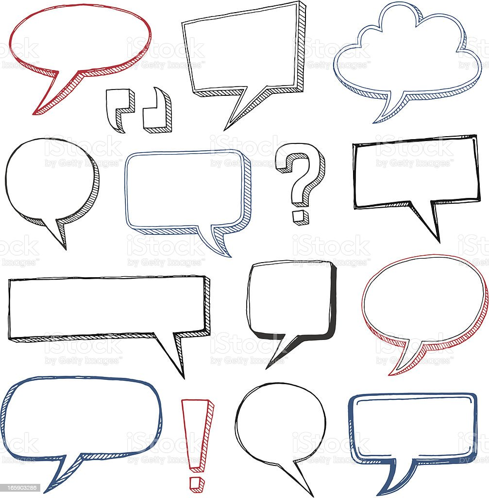 Sketched Speech Bubbles vector art illustration