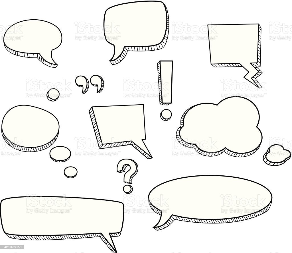 Sketched Speech Bubbles royalty-free stock vector art