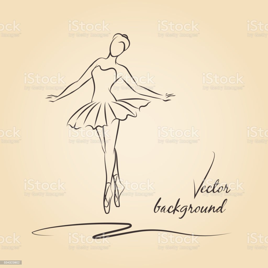 Sketched vector ballerina vector art illustration