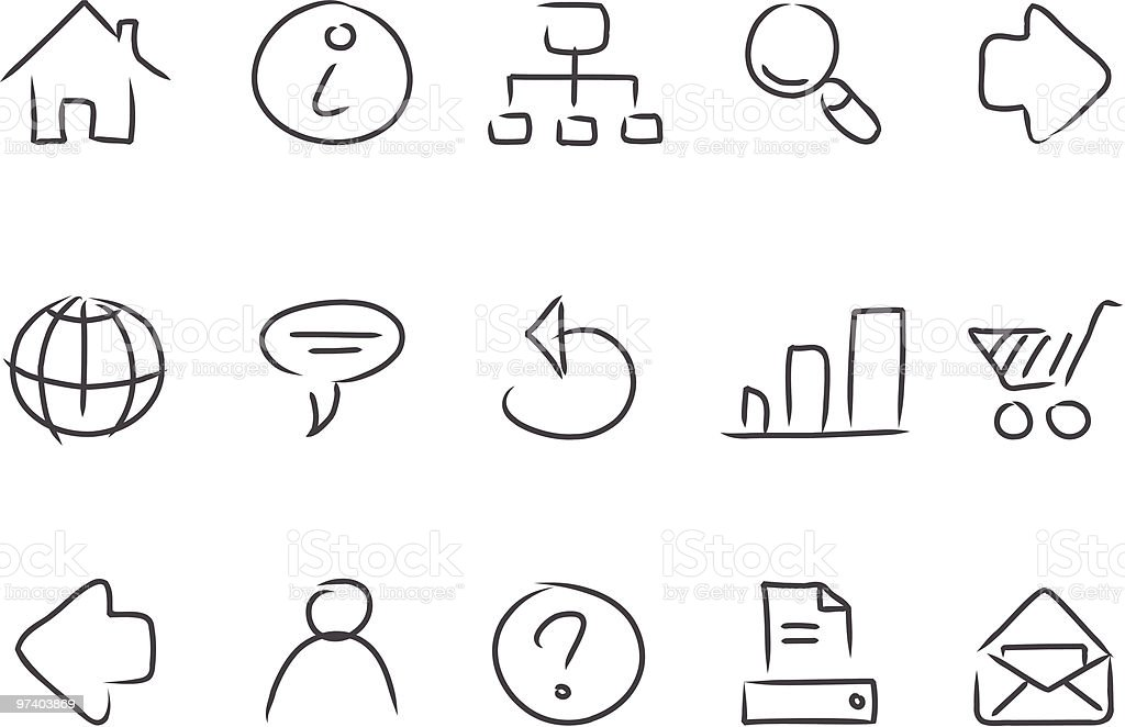 Sketched Web Icons royalty-free sketched web icons stock vector art & more images of arrow symbol
