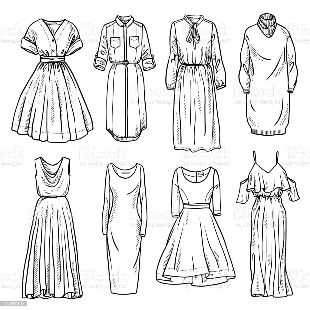Ilustración De Colección De Bocetos De Vestidos De Las