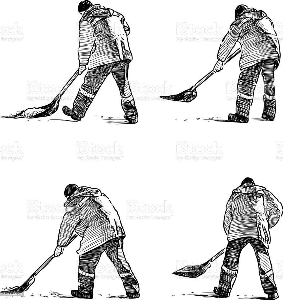 Sketches of a street cleaner at work vector art illustration