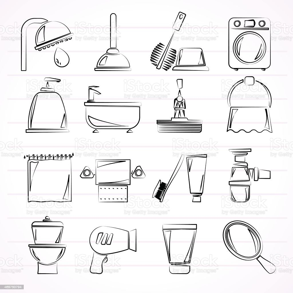 Line Art Bathroom : Sketches of common bathroom objects and appliances stock