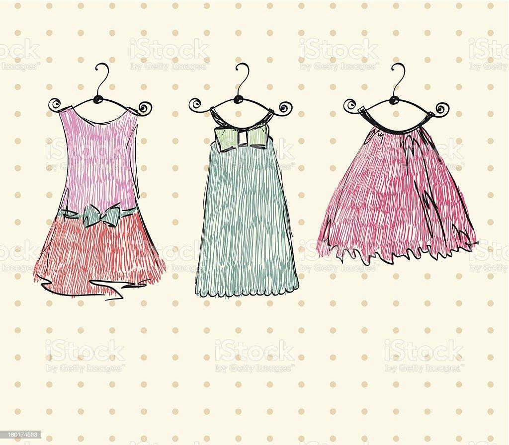 Ilustración De Bocetos De Vestidos Y Más Vectores Libres De