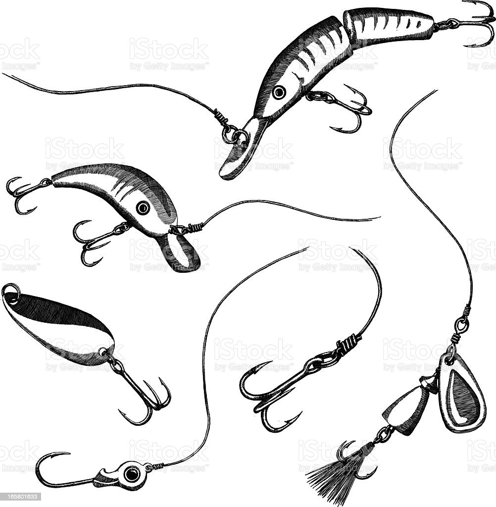 Sketches of fishing lures on a white background vector art illustration