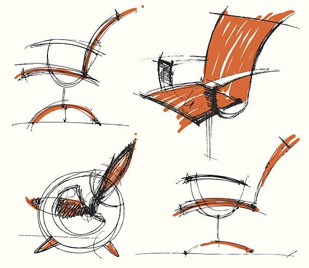 Sketches of furniture vector art illustration