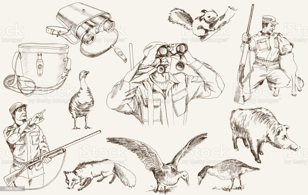 Sketches of geese, foxes, binoculars and hunters with rifles royalty-free stock vector art