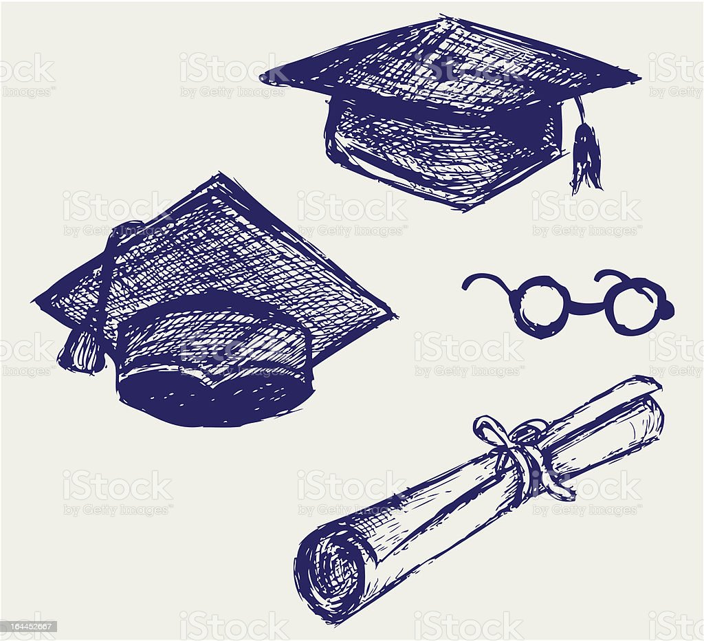 sketches of graduation cap diploma and glasses royalty free stock vector art