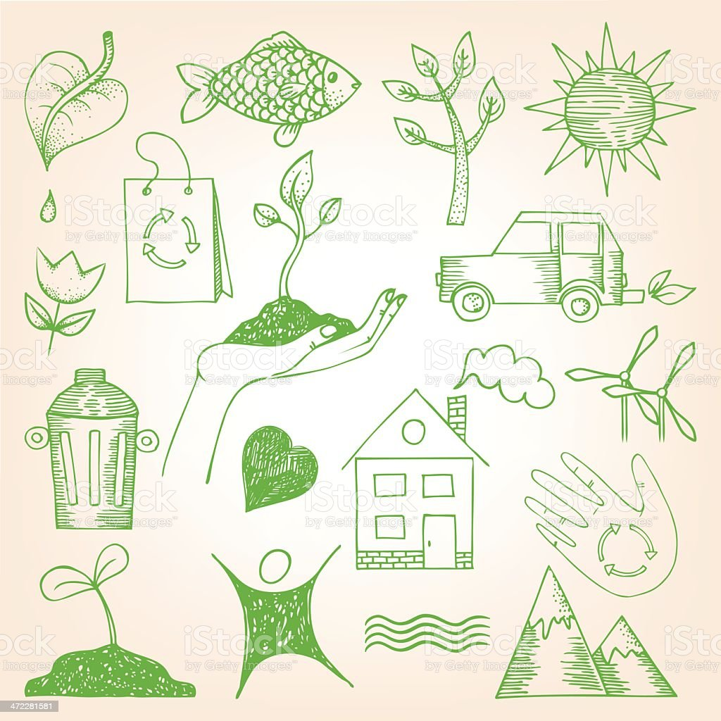 Sketches of green ecology images on white background  royalty-free stock vector art