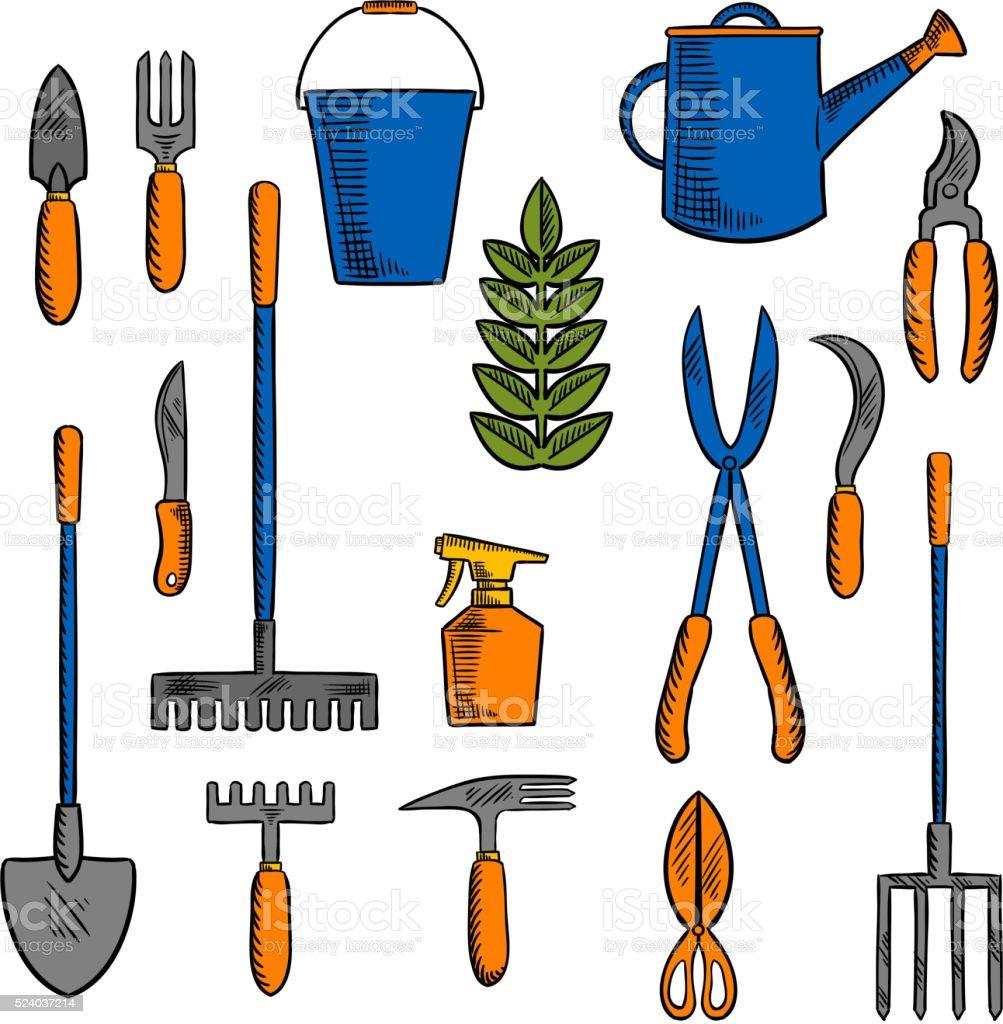 Ilustraci n de bocetos de herramientas de mano de for Trabajo jardinero
