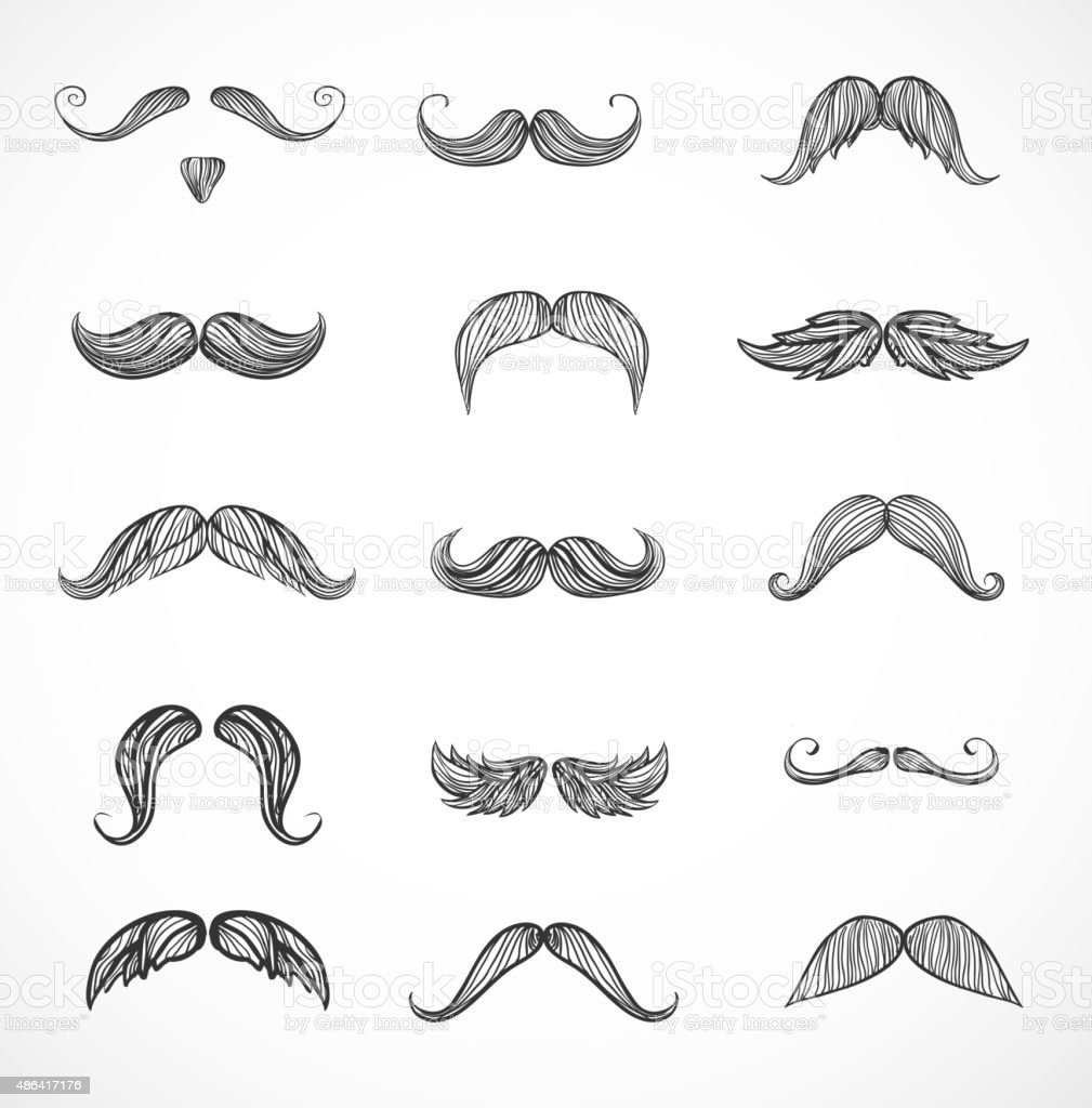 Sketches of moustaches on white vector art illustration