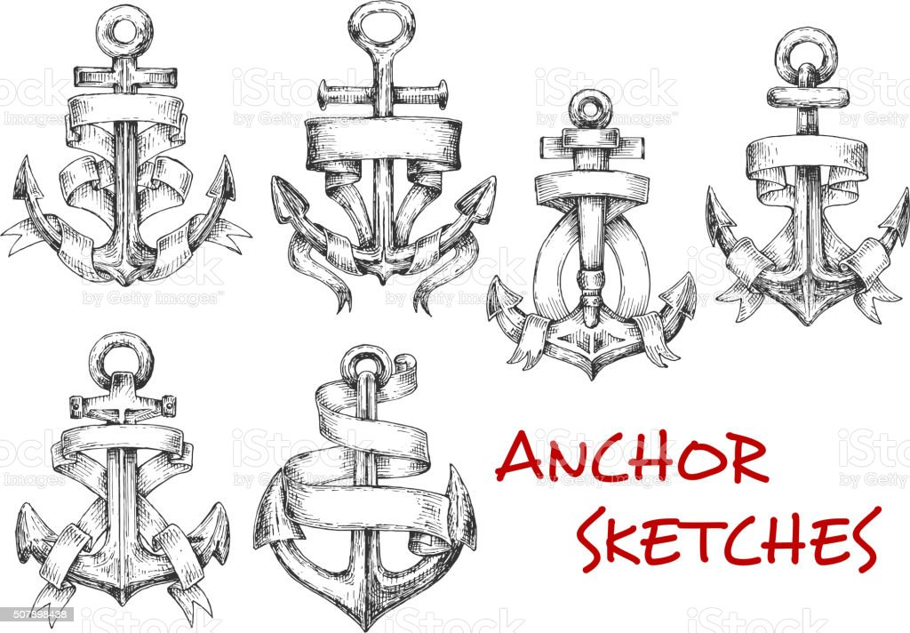 Sketches of old heraldic anchors with ribbons vector art illustration