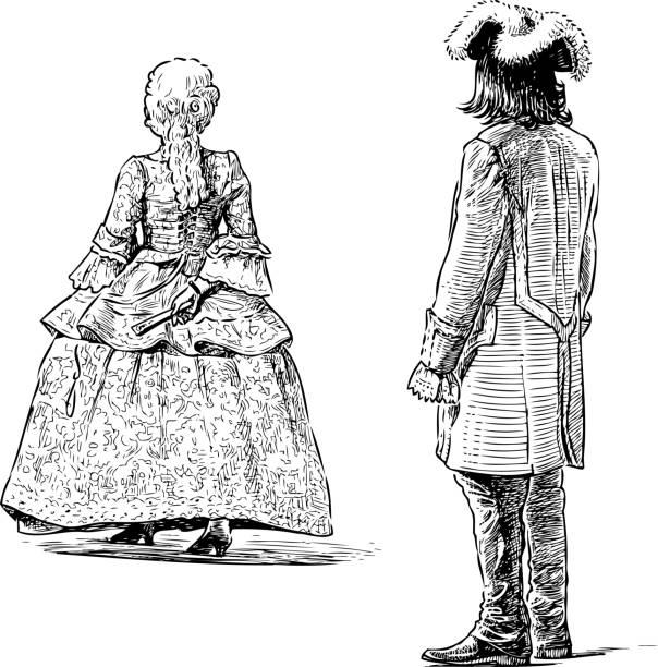 stockillustraties, clipart, cartoons en iconen met schetsen van personen in de historische kostuums van de 18e eeuw - 18e eeuw