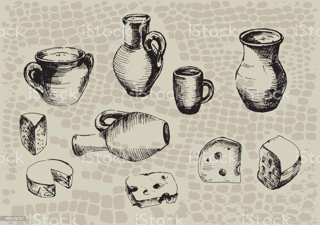Sketches of pottery and cheeses on beige background vector art illustration