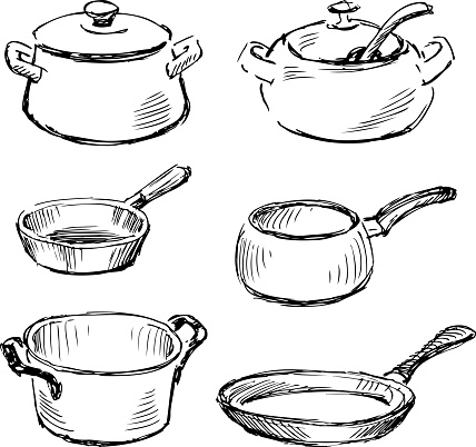 Sketches of set of various kitchenware for cooking
