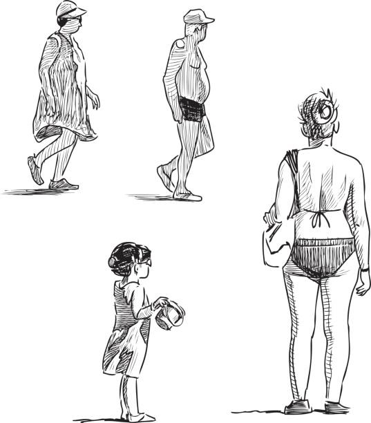 sketches of the different people on the beach - old man standing drawings stock illustrations, clip art, cartoons, & icons
