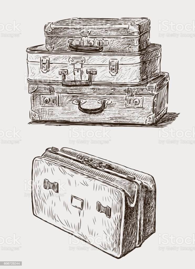 sketches of the old suicases vector art illustration