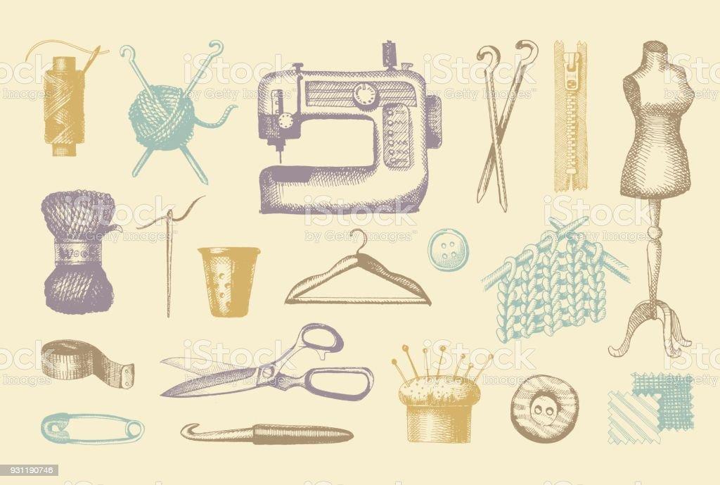 Ilustración de Dibujos De Herramientas Y Materiales Para Coser Y ...