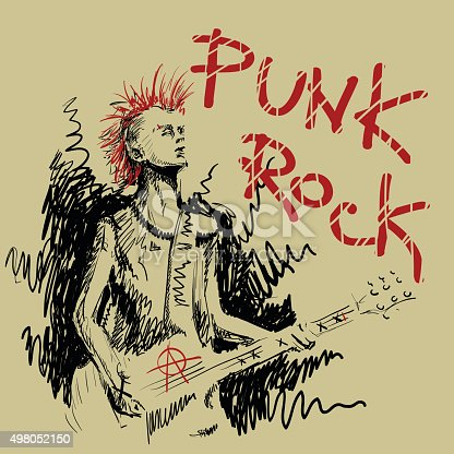 The picture in the style of careless sketch. The illustration shows a punk. Musician plays elekrogitare and sings. The representative of the sub culture of wearing the shirt on his head a red mohawk. In the corner of the inscription - punk rock. The guitar - scrawled a symbol of anarchy.