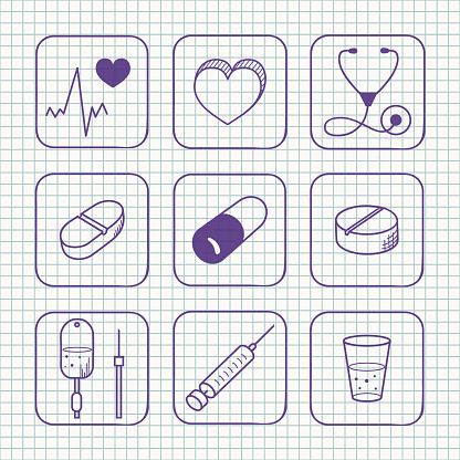 Sketches Simple Medical Icons Set Stock Illustration