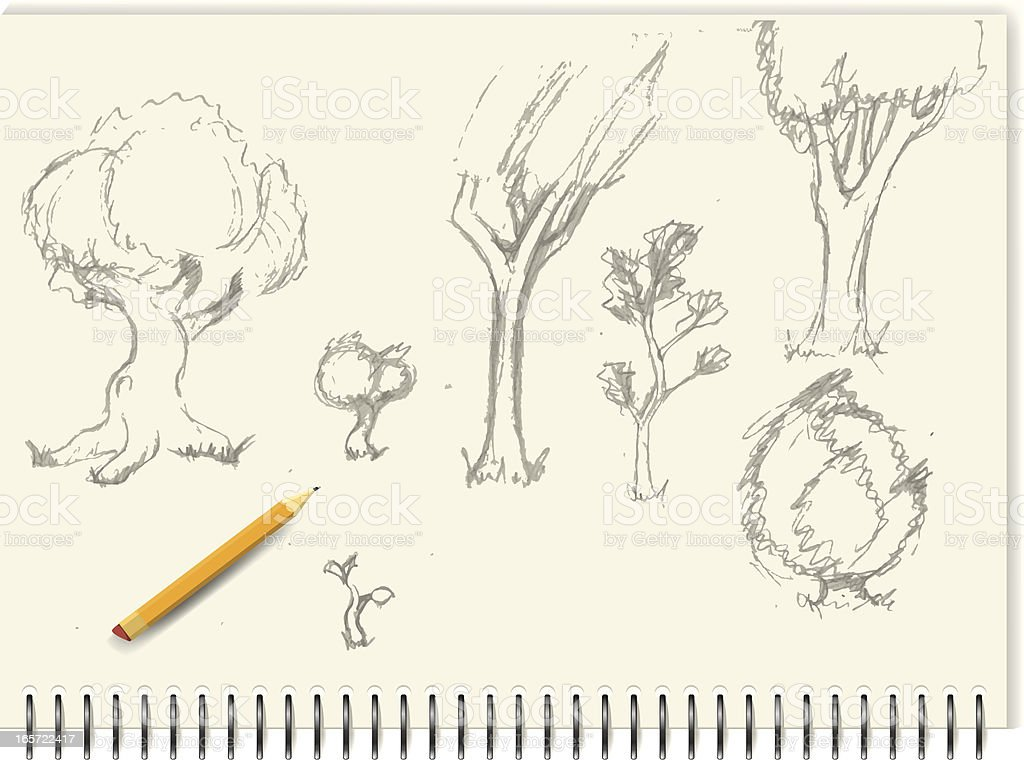 Sketches - Trees royalty-free stock vector art