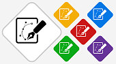 Sketching Graphs Color Diamond Vector Icon. The icon is black and is placed on a diamond vector button. The button is flat white color and the background is light. The composition is simple and elegant. The vector icon is the most prominent part if this illustration. There are five alternate button variations on the right side of the image. The alternate colors are red, yellow, green, purple and blue.