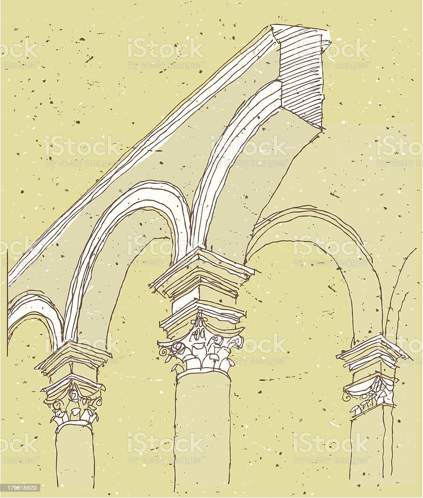 Sketching Historical Architecture in Italy: detail vector art illustration