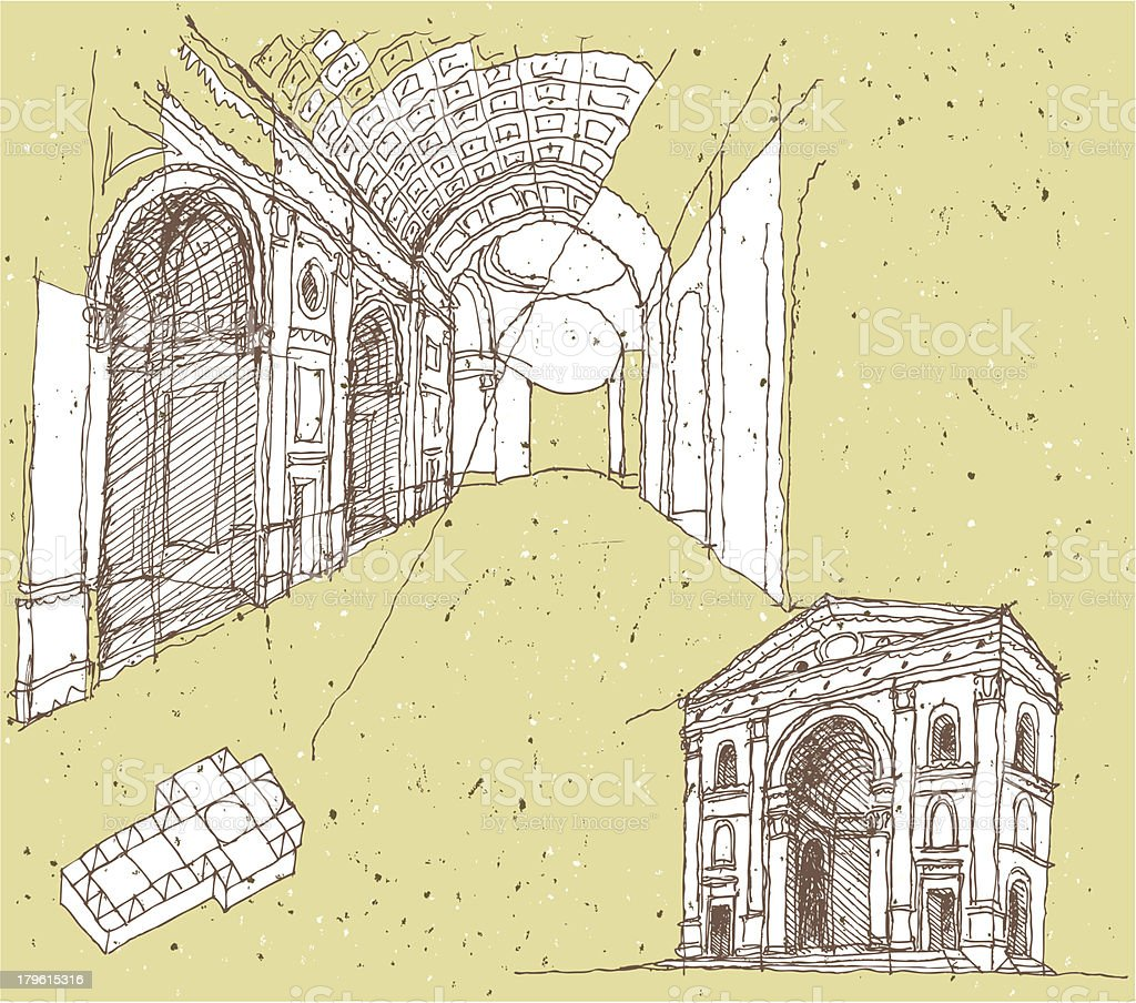Sketching Historical Architecture in Italy: Mantua vector art illustration