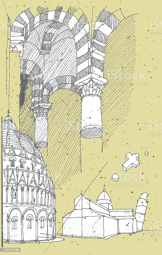 Sketching Historical Architecture in Italy: Pisa royalty-free stock vector art